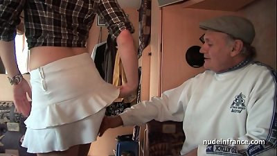 MMMF Amateur french redhead hard DP in foursome gangbang with Papy Voyeur