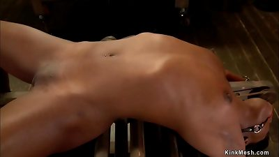 Ebony slut in small cage gets vibrated