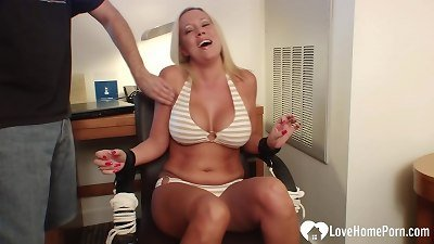 busty blond girlfriend gets bound and tickled