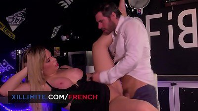 immense tits ash-blonde French woman Emma Blanc banged in the bar