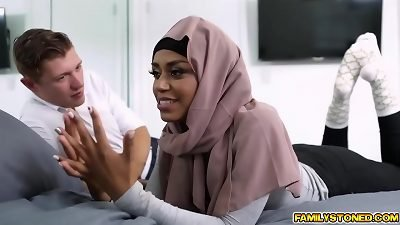 Hijab ebony babe blowjob her step bro