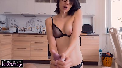 gorgeous brunette have fun with Neighbour's penis to Get facial on Glasses